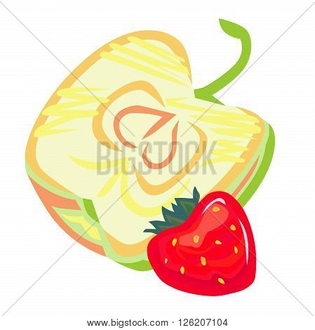 Stylized vector apple half with stem, and red strawberry.