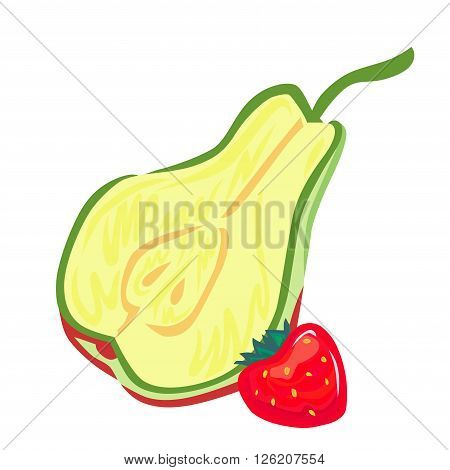 A vector drawing of a stylized cut in half pear, and whole red strawberry.