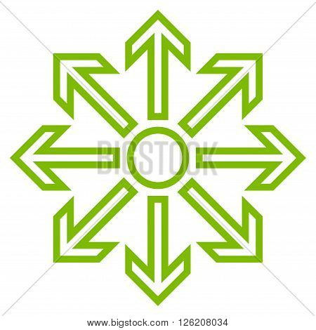 Maximize Arrows vector icon. Style is outline icon symbol, eco green color, white background.