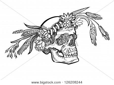 A vector monochrome illustration with a skull, wearing a flower crown.
