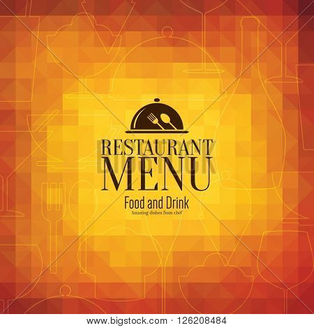 Restaurant menu design. Vector menu brochure template for cafe, coffee house, restaurant, bar. Food and drinks logotype symbol design. Abstract vintage background background