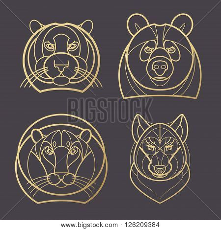 Vector illustration predatory animals. Designed create logo icon in modern style mono line. Predatory animals tiger lion bear wolf isolated on black background. Print gold foil. Symbol strength.