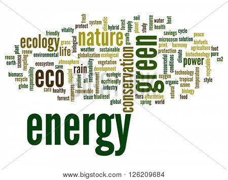 Concept or conceptual abstract green energy ecology and conservation word cloud text on white background