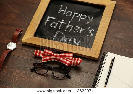 Happy Father's Day set of things on wooden background