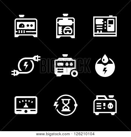 Set icons of electrical generator isolated on black. Vector illustration