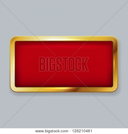 Golden frame with red velvet copy space vector template.