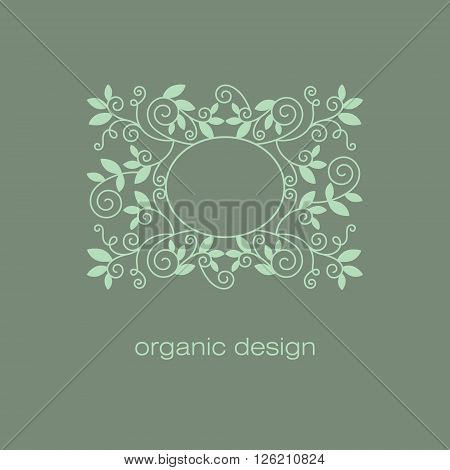 Organic vector design. Natural decorative elements of the modern trend of mono line. Vintage sign symbol emblem label organic products. Icon in natural organic colors. Healthy lifestyle concept.