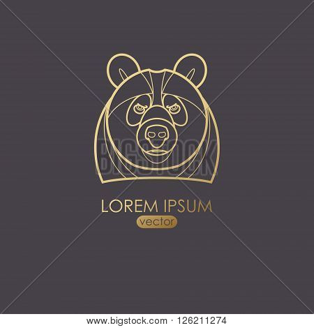 Vector illustration of a bear. Designed to create a logo icon in modern style mono line. Predatory animal bear isolated on a black background. Print gold foil. The bear as a symbol of strength.