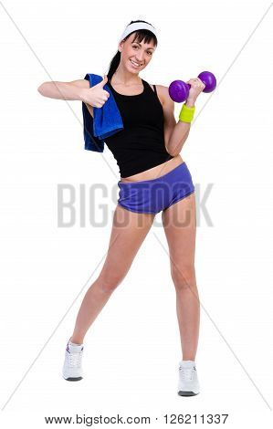 Aerobics fitness woman instructor exercising, isolated in full body. Energetic fit female fitness model.