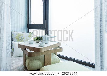 Prepared Tea Ceremony In A Window Niche