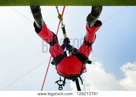 Emergency Rescue high building , Rappelling action .
