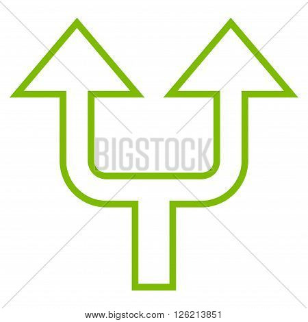 Split Arrow Up vector icon. Style is outline icon symbol, eco green color, white background.