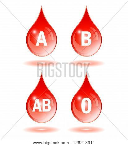 Blood type drop icons isolated on white background