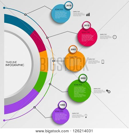 Time line info graphic with design colorful circles template vector eps 10
