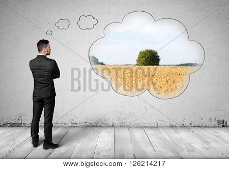 Agricultural field reflecting in the symbol of cloud on the concrete wall. Full portrait of back view businessman.