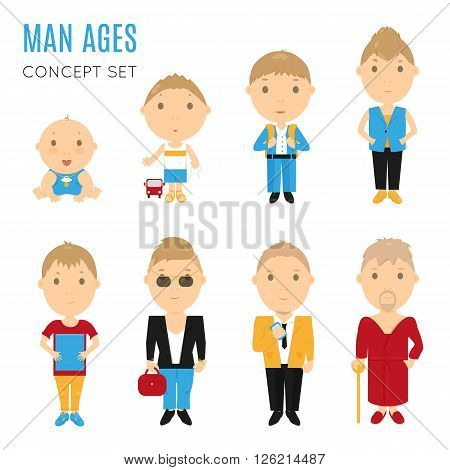 Set of casual man age flat icons. Vector life aging stage illustration. Cartoon human generation. Male growing  process concept. Baby child, kid, boy, husband, old father, son. Comic people collection