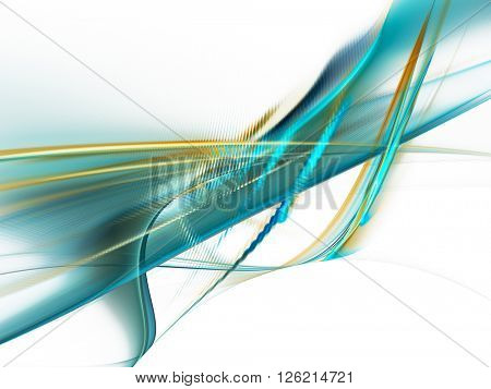 Abstract background element. Fractal graphics series. Blue and yellow colors on white.