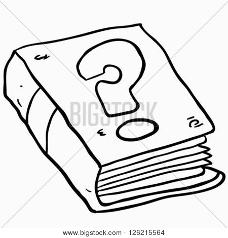 black and white book with question mark cartoon illustration isolated on white