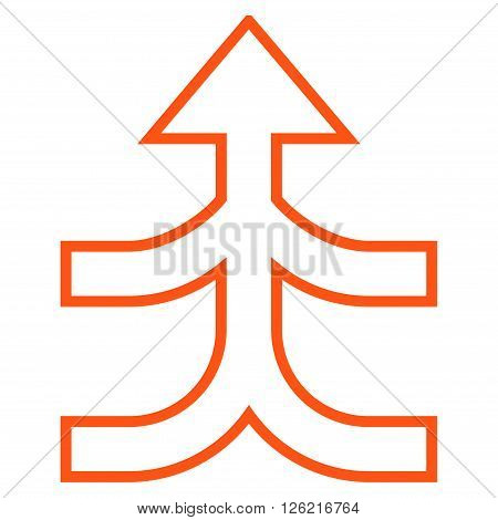 Combine Arrow Up vector icon. Style is stroke icon symbol, orange color, white background.