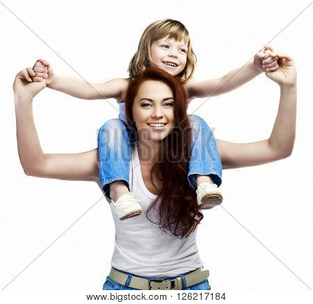 happy laughing mother and her son isolated against white studio background