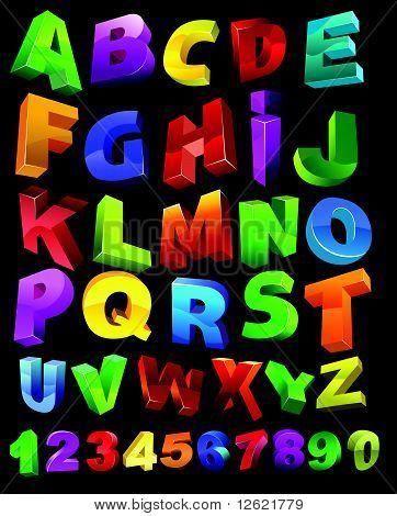 3D Font Colors.