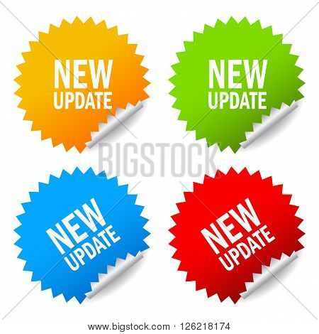 New update stickers isolated on white background
