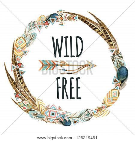 Watercolor wreath with ornate bird feathers and arrow isolated on white background. Wild and free design. Patterned elements in trendy tribal style.
