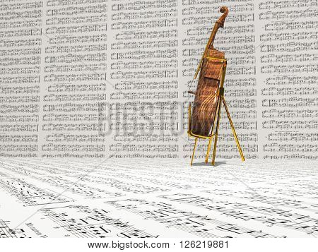 Cello and music notation background 3D Render