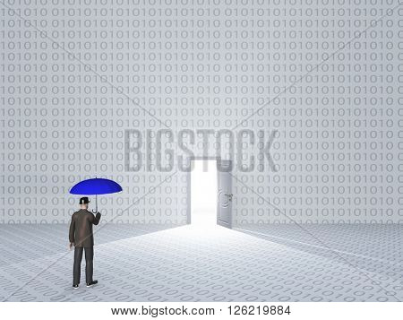 White room with binary code and door with bright light and man 3D Render