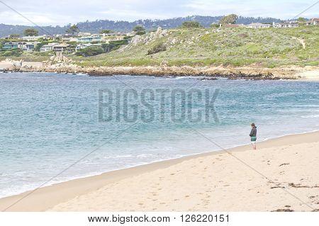 Man Looking At Beach On Garrapata State Park, California