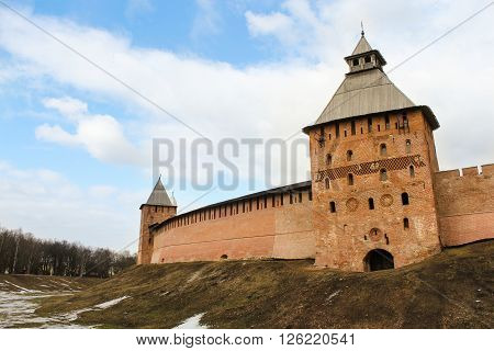 Velikiy Novgorod, Russia - 12 March, Ancient tower of the Kremlin, 12 March, 2016 Types of towers and walls of Kremlin in Veliky Novgorod.