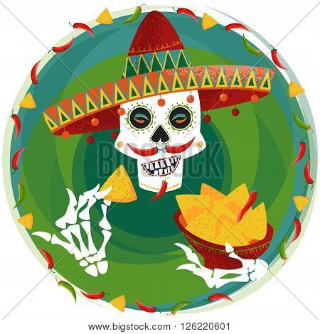Mexican food. Smiling Mexican skull with jalapeno pepper mustache in sombrero eating nachos. Vector illustration