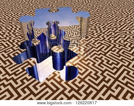 Puzzle piece on maze surface 3D Render