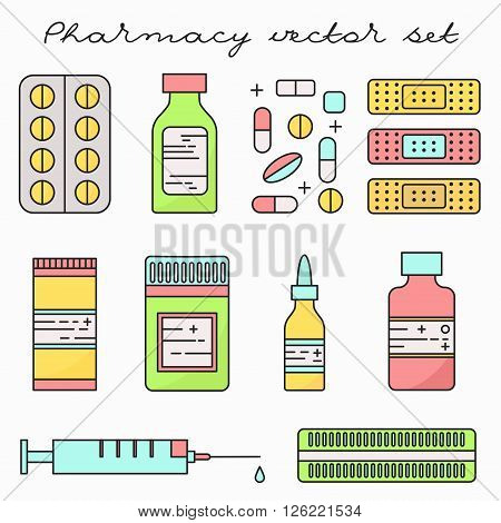 Pharmacy medicine vector set. Different pills and drugs. Lineart illustration.