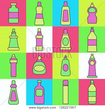 Lineart washing agents vector illustration. Different cleaning agents.