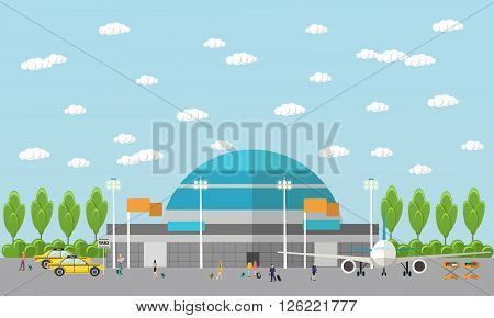 People in airport flat set. Vector illustration in flat design. banners