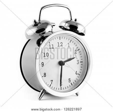 alarm clock, isolated on the white background.