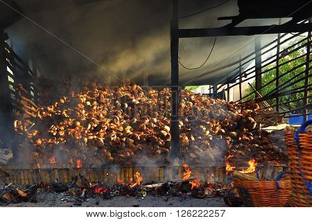 glutinous rice roasted in bamboo joints Thailand.