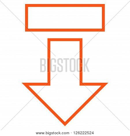 Pull Arrow Down vector icon. Style is outline icon symbol, orange color, white background.