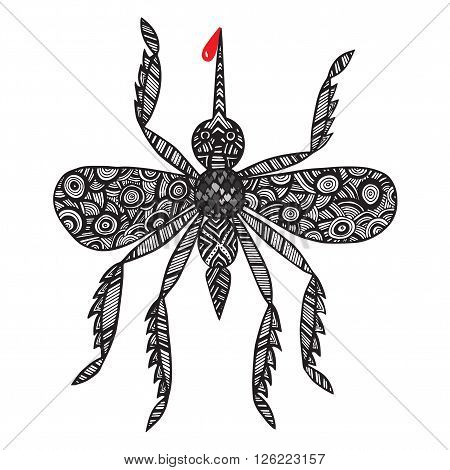 Isolated mosquito with blood on the white background.