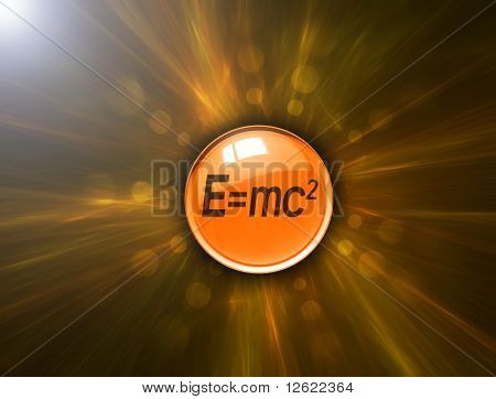 Button with energy formula on abstract background