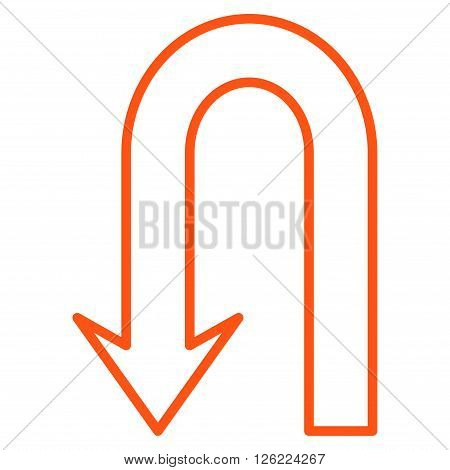 Return Arrow vector icon. Style is contour icon symbol, orange color, white background.