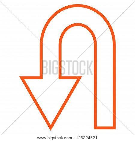 Return Arrow vector icon. Style is outline icon symbol, orange color, white background.