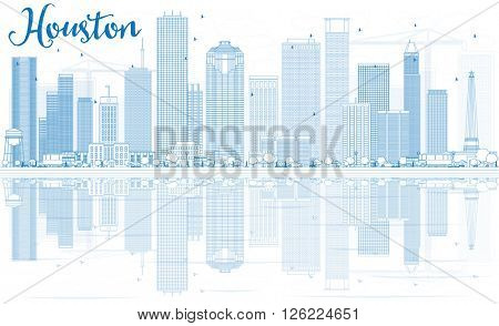 Outline Houston Skyline with Blue Buildings and Reflections. Business Travel and Tourism Concept with Modern Buildings. Image for Presentation Banner Placard and Web Site.