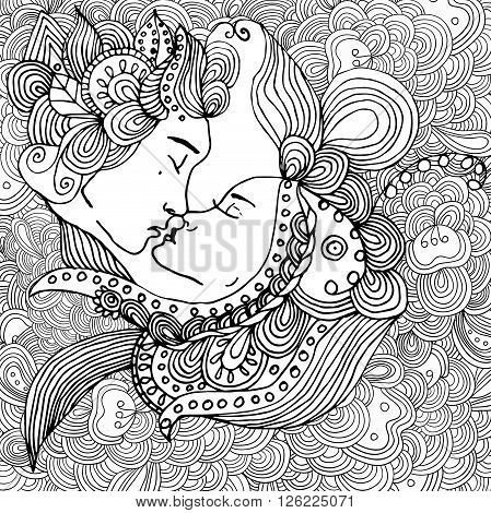 vector kissing couple in doodle style on doodle background. Can be used as card, invitation, background, adult coloring book. Hand drawn style. Wedding invitation.