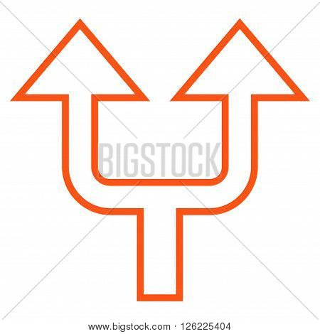 Split Arrow Up vector icon. Style is stroke icon symbol, orange color, white background.