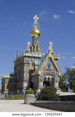 Darmstadt, Germany - May , 2015: Russian Chapel At Mathildenhöhe In Darmstadt. The St. Mary Magdalen