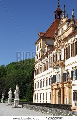 Graz, Austria - May 9, 2015: View Of The Eggenberg Castle In Graz, Austria