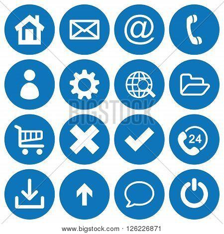 Set of 16 basic flat icons on blue round background