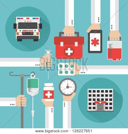 Medical service flat background with hand .Vector illustration